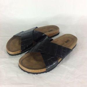 ASOS Embossed Flare Cross Strap Slides Sandals